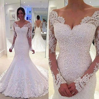 Wholesale 2017 White Lace Mermaid Wedding Dresses Long Sleeve Applique Off Shoulder Backless Wedding Gwons Sweep Train Illusion Beaded Bridal Gowns