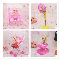 Birth-12 months baby furniture accessories - doll furniture Baby bed Trolley Walker fanner set doll accessories for Barbie Doll girl play house