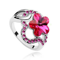 Wholesale Gemstone Rings Austrian Crystal Ring Romantic Cherry Plum Petals Linger Wedding Rings Fashion for Women DHL