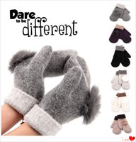 Wholesale Women s wool gloves Mittens glove thicker warm gloves winter gloves Hair ball glove solid color A0322