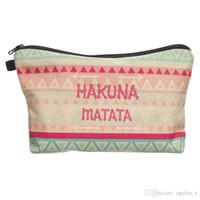 al por mayor bolsas azteca-2017 Bolso del bolso del maquillaje de la manera Bolso verde azteca del bolso de los cosméticos de Hakuna Bolso del recorrido bolso de la muñeca del organizador del bolso