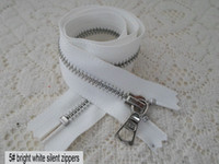 Wholesale ykk bright white brass silent zipper bright silver plating held cm cuff leather silent white zipper zipper zinc alloy