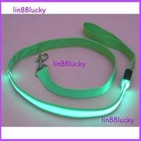 Wholesale 2 CM nylon weave cm dog collars leashes Glow LED Flashing Light Dog Pet Leash Tether dog leashes
