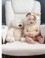 Wholesale Baby romper sets INS new Baby Girls falbala polka dots suspender jumpsuit printing Bows headbands sets toddler kids climb suitT0595