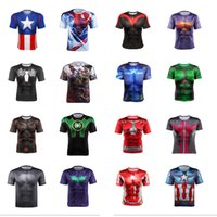 Crew Neck avengers print - The Avengers t Shirts For Men Colors Captain America Spiderman Iron Man Sports t Shirt Quick Dry Tight Mens t Shirts