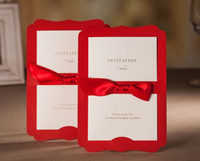 Wholesale new Exclusive Free Personalized Customized Printing Red Wedding Invitations Cards Custom with Ribbon