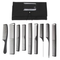 other All Hair Types PVC 9pcs set Pro Hair Salon Plastic Barbers Hair Cutting Combs Set with Pouch Canvas Holder Case Hairdressing Hair Styling Tools