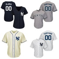 Wholesale Cheap New York Yankees Majestic White Navy Home Cool Base Custom Baseball Jersey