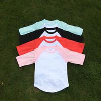 Wholesale Cotton Kids Raglan Tee Blanks Four Colors Toddler Raglan Shirt Great Cousin Shirt Birthday Shirt DOM106401