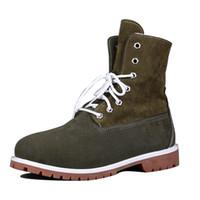 achat en gros de mens bottes de l'armée en cuir-Militaire Mode Hommes Martin Boots Army Cowskin Plein Grain Cuir Bottes moitié avec lacée pour hommes 2812140