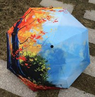 adult novelty items - 2017 New Novelty Items Oil Painting Arts Umbrella Rain women Creative Famous Brand Mujer Paraguas Anti UV Fashion Parasol Blue sky in autumn