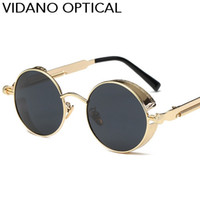 Woman acrylic coatings - Vidano Optical Gothic Steampunk Men Women Sunglasses Coating Mirrored Sunglasses Round Circle Sun Glasses Retro Vintage Gafas Masculino Sol