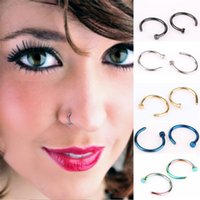 Wholesale 316L Stainless Steel Nose Rings Body Piercing Jewelry Fashion women Open Hoop Nose Rings Earring Studs Non Piercing Rings