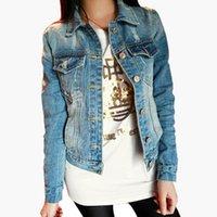 achat en gros de manteaux de filles millésime-Vente en gros New Fashion Printemps Automne Vestes en denim Vintage Jeans pour femme Short Coat Ladies Jean Tops pour filles Outwear Z8