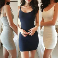 Wholesale Hot sale Sexy pure color sleeveless vest dress tight sling bags buttock dress Casual Dresses XBD