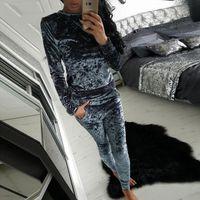 Wholesale Long Sleeve Velour Tracksuits Women - Women's Clothing Winter Tracksuit Fashion Velvet Long Sleeve Sportsuit Women 2 Piece Set Slim Pants Suits + Hooded Sweatshirts suits
