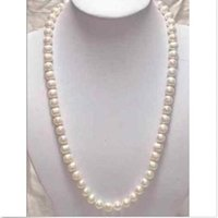 Wholesale very beautiful quot mm Genuine white akoya pearl necklace K Gold colasp