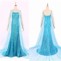 anime cocktails - Elsa Queen Princess Adult Women Cocktail Party Dress Costume Elsa Dresses Blue Bling Snow Cosplay Dress
