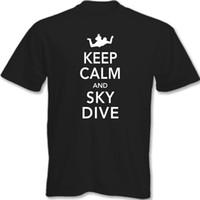 Paracaidismo España-Mantenga la camiseta de la manga del verano de la camiseta de la manga del verano de la nueva manera del diseño de la manera de la zambullida calva XS - tamaño XXXL
