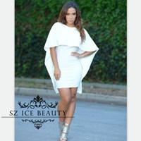 Precio de Vestidos cortos kim kardashian-Kim Kardashian corto blanco Litlle vestidos de cóctel con 1/2 mangas largas cabo capa o cuello sexy backless envoltura club nocturno vestido de fiesta