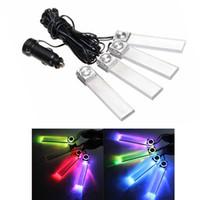 Wholesale 4 In LED Car Charge Interior Decoration Floor Dash Decorative Lights String Strip Light RGB DC12V LEG_258