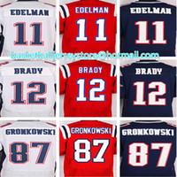 Wholesale 100 Stitched Brady Jersey Edelman Gronkowski Elite Jerseys Red Blue White Jersey