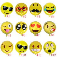 Wholesale 45 cm Round Cute Emoji Ballons Wedding Balloon Birthday Party Balloons Decoration Room Cartoon Decoration Kids Inflate Toy PPA731
