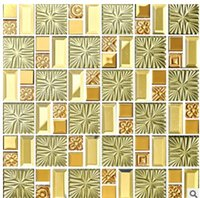 Wholesale 2017 hot sale mosaic Plating glass mosaic TV background wall gold bar restaurant entrance European mosaic tile