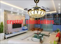 Wholesale with controller living room bedroom dining room fashion crystal LED inch ceiling chandelier fan lights Fan chandelier