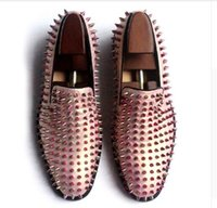 Wholesale Mens Shoes Rose Gold Loafers Spike Studded Slip On Leather Flat multi color fashion men bota shoe