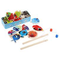 Niños juegos niños España-Venta al por mayor-14 pescados + 2 cañas de pescar Niños de madera juguetes pescados Juego magnético de la pesca del juego Caja de la lata Niños Juguete educativo Muchacho muchacha