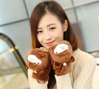 Wholesale Clamshell gloves winter new lovely lady alpaca cartoon semi finger means plush warm gloves