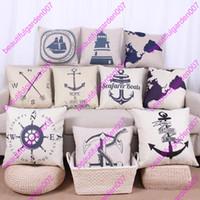 Linen/Cotton Blend anchor textiles - sailing anchor rudder map Compass patter Pillow Case Cotton Linen Cushion Cover square Throw pillow Covers Home Textiles Pillowcase