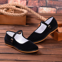 ballet flats walking - Lady Casual Shoes Non Slip Soft Shoes Ballet Shoes Round Head Mary Jane Rubber Soles Cloth Walking Flat buckle strap