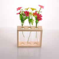Wholesale Ivolador Crystal Glass Test Tube Vase in Wooden Stand Flower Pots for Hydroponic Plants Home Garden Decoration