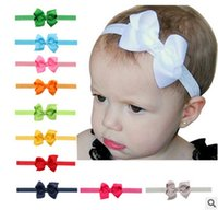 ribbon for hair bows - 20pcs baby Girl boutique Hair Bow Headband DIY Grosgrain Ribbon Bow Elastic Hair Bands For Newborn Toddler children Hair Accessories