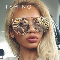 al por mayor gato ronda gafas de sol del ojo de oro-2016 nuevo ojo de gato de la manera Oversized las mujeres grandes de las gafas de sol de las mujeres de la marca de fábrica de la superestrella diseñador señora Rose Gold Mirror Sun Gafas Mujer
