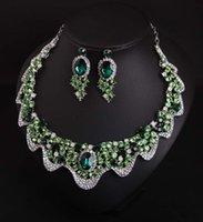 Mode Bijoux Indiens Vert Boucles D'oreilles Collier Cristal Strass Bijoux Mariage Ensembles De Mariage Accessoires Décoration