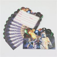 Wholesale Kids Favors Disposable Star Wars Paper Invitation cards Baby Shower Cartoon Theme Decoration Happy Birthday Party Supplies