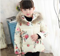 Wholesale 2017 New Winter Girls Flower Down Coats Cute Girl Thicken Warm Outwear Children Short Style Hooded Coat cm