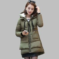 achat en gros de manteaux de style militaire des femmes-Femmes Veste d'hiver militaire Dernières Mode Veste à capuchon Veste épaisse en coton épais Loose Grande taille Vêtements d'extérieur OK260