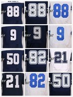 Wholesale New jerseys Dez Bryant Tony Romo Sean Lee Jason Witten Ezekiel Elliott White blue Elite throwback embroidery logo Free Ship