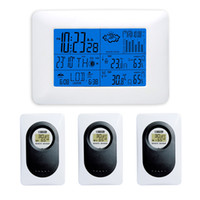Wholesale Blue Backlight DYKIE RF Digital Wireless Weather Station with Indoor Outdoor Thermometer Hygrometer Barometer Remote Sensors