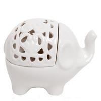 Wholesale Lucky Elephant White Like Sweet Fume Furnace Ceramic Candle Wedding Decoration Birthday gifts