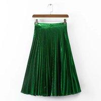 Wholesale 2016 Hot Sale Womens Fashion Metal Silk Pleated Skirt High Waist Long Skirt with