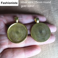 Wholesale 30 Round Blank Pendant Tray mm Inside mm Vintage Alloy Cabochon Base Setting Jewelry Findings Gold Color