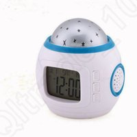 Wholesale LED Starry Star Sky Projection Digital Alarm Clock Music Calendar Thermometer Night Light Horloge Alarm Clock Timer OOA1179