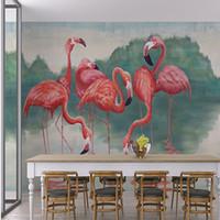amusement entertainment - D Stereo Custom European Fashion Mural Living Room Bedroom Amusement Park TV Backdrop Wallpaper Flamingo Mural
