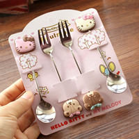 Wholesale Hot sales Kawaii Hello Kitty Twin Star Melody Pieces Stainless Steel Coffee Spoon Fork Dinnerware Set Children Gift Tableware