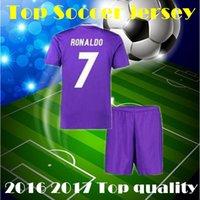 Wholesale 2017 RONALDO soccer jerseys Uniforms sets youth boys child kits Home White Purple RONALDO JAMES BALE football shirts